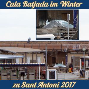 Cala Ratjada zu Sant Antoni im Januar 2017 - Durch Sturm und Wellen beschädigte Hafenmauer