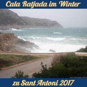 Cala Ratjada zu Sant Antoni im Januar 2017 - stürmische See