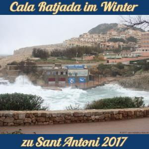 Cala Ratjada zu Sant Antoni im Januar 2017 - stürmische Brandung in der Cala Lliteras