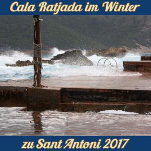 Cala Ratjada zu Sant Antoni im Januar 2017 - Wellengang in der Cala Lliteras
